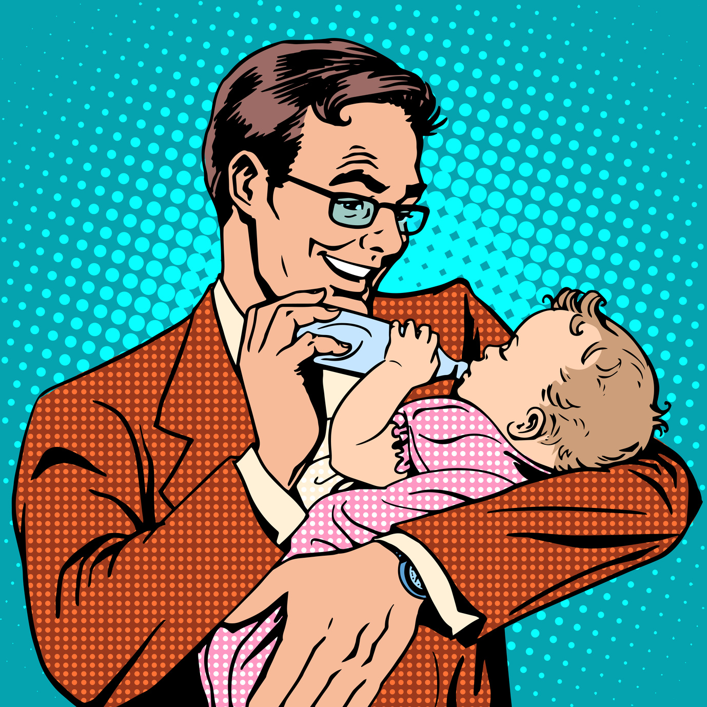 Happy father feeding newborn baby with milk pop art retro style. The family and the child. The birth of a son or daughter