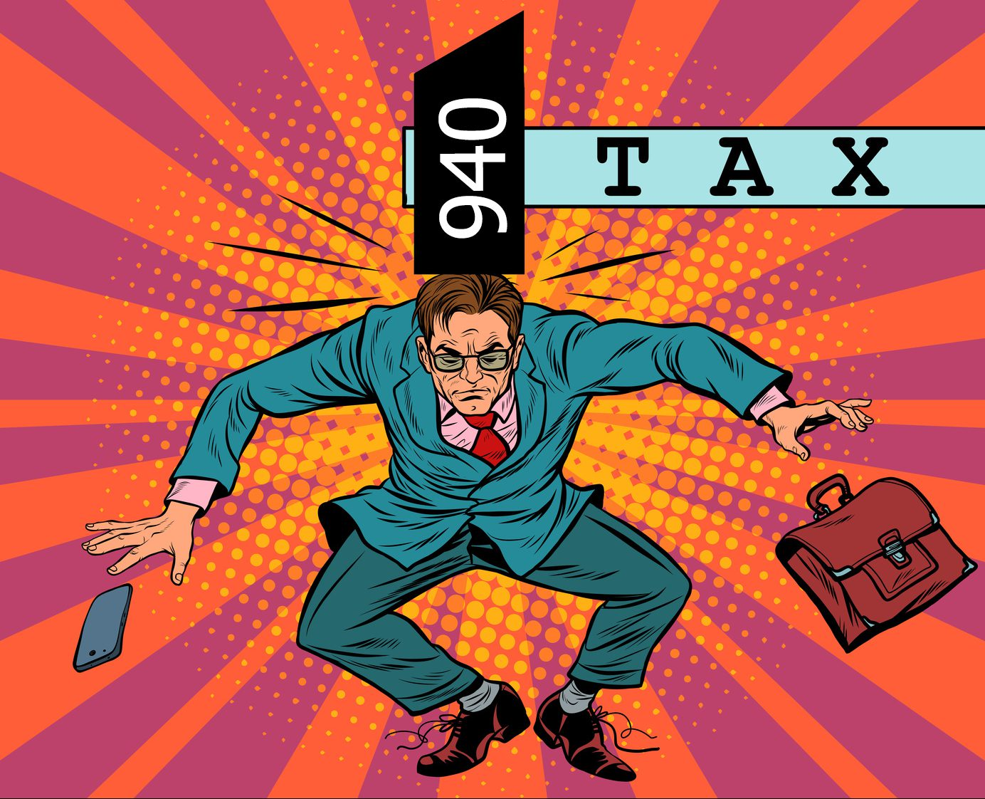 tax policy, impact on business, pop art retro vector. The businessman was hit with a hammer