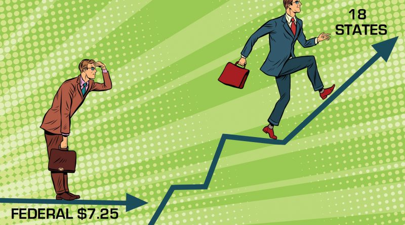 Businessmen running chart growth and look forward. Pop art retro vector illustration. Financial results